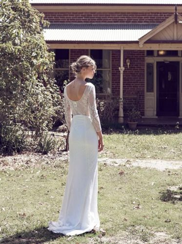 Boho wedding dress lace back