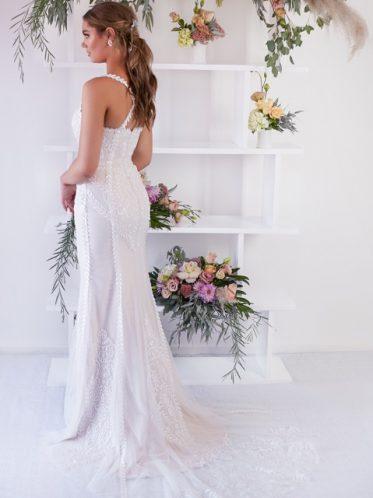 Eva pink wedding gown- back
