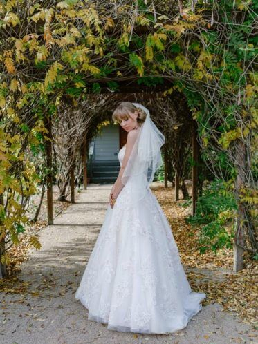 Spring time pink wedding dresses veil