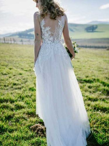 Erica lace-back wedding dress garden wedding