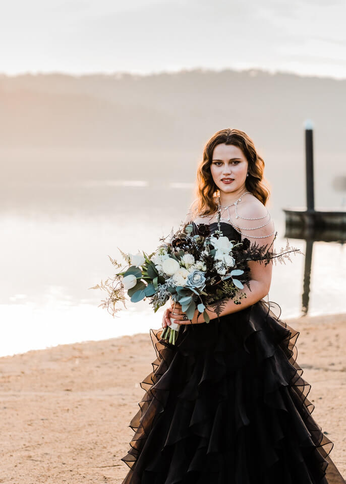 Bride in black gown