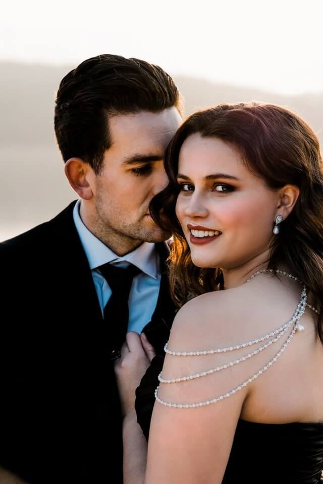 Bride wearing neck piece