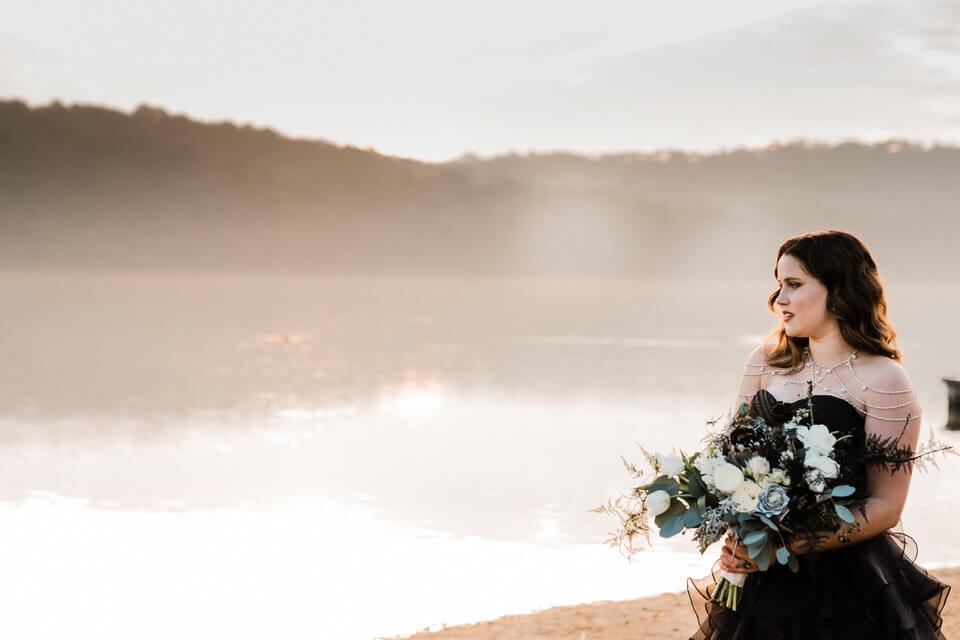 Bride near lake