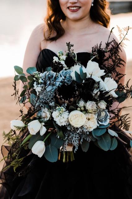 Wedding flowers for a black wedding dress