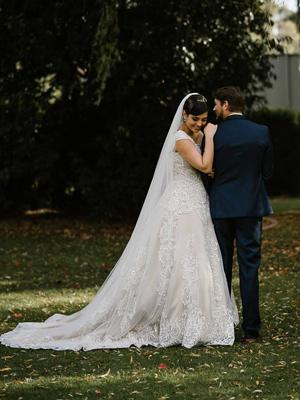 Ready to wear long train wedding dress Katherine