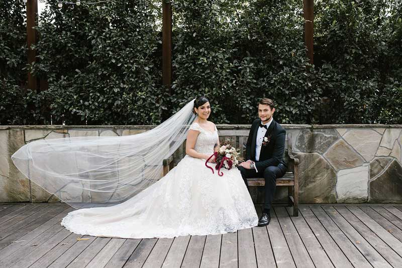 Katherine lace long train wedding dress