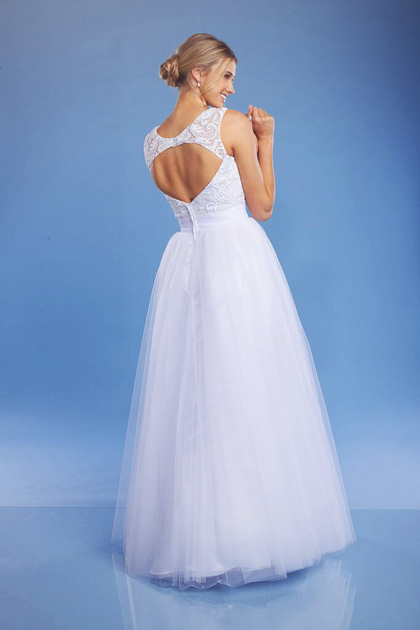 Back of Krissy white wedding dresses