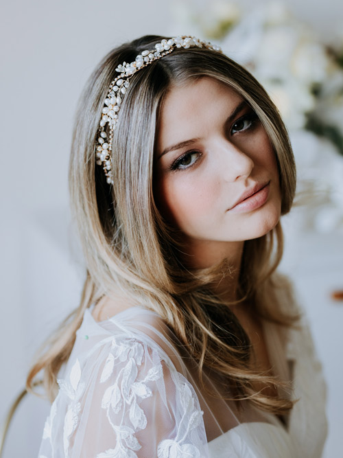 classic pearl hair vines for brides