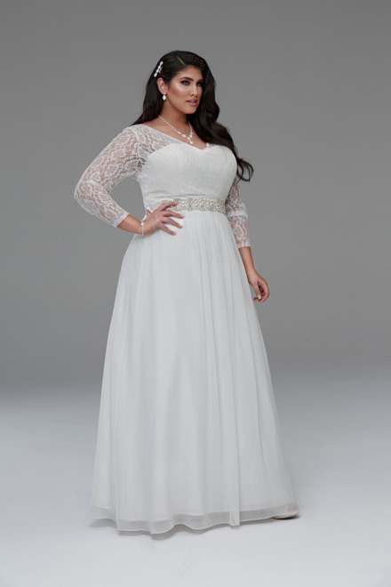 Gabby lace long sleeve wedding dresses