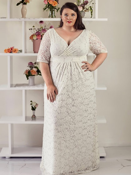 Plus size wedding dress with sleeves Paige