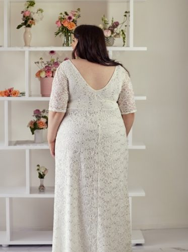 Plus size wedding dress with sleeves back