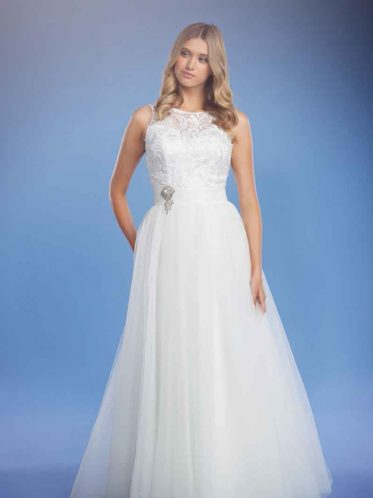 Boat neck white wedding dresses