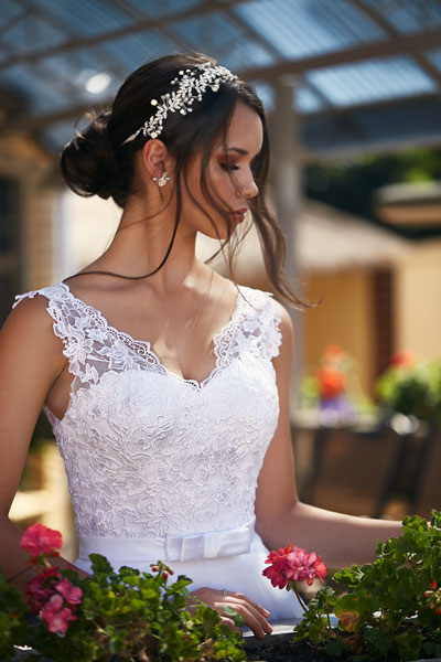 Felicia Debutante dress with lace sleeves