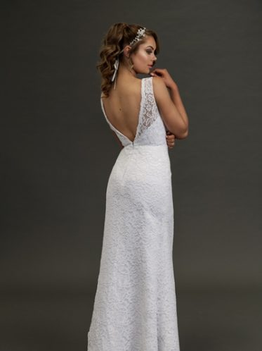 Low back long white lace wedding dress