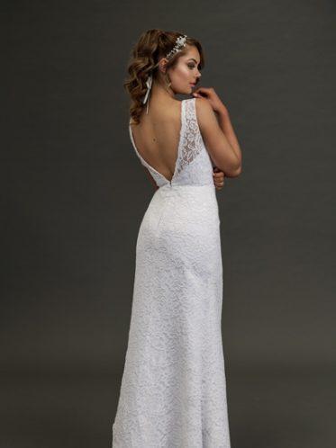 Low back long white lace wedding dress