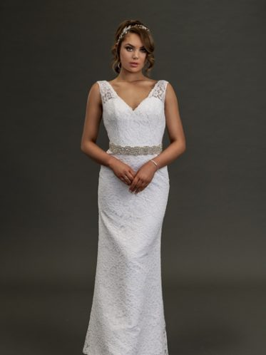Long white lace dress with belt