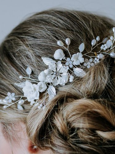 details of beaded hair comb in silver