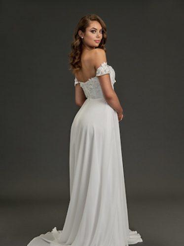 Poppy simple flowing wedding dress in chiffon