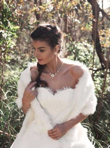 Bride wearing fur wrap