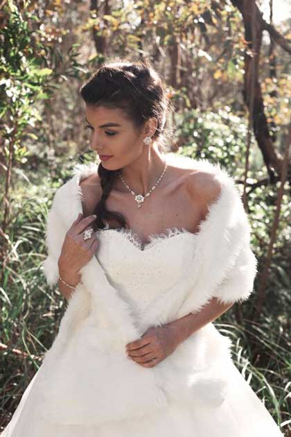 Fur wraps for brides and debs