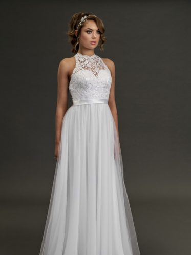 Halter neck wedding dress with lace