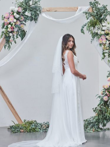 with matching long veil