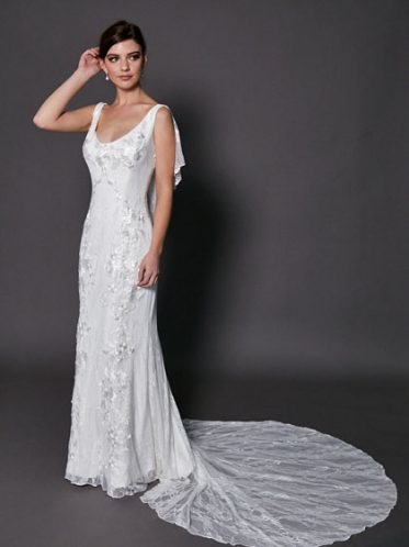 Low back Melrose wedding gown
