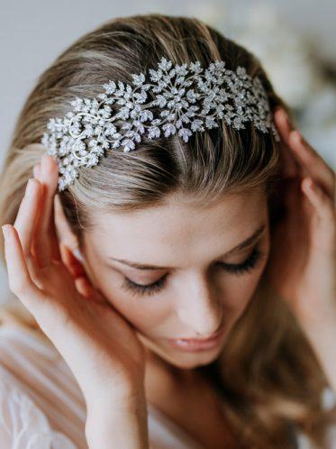 Wedding headband silver sparkle