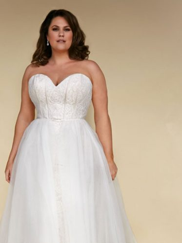 Fitted plus size reveal gown