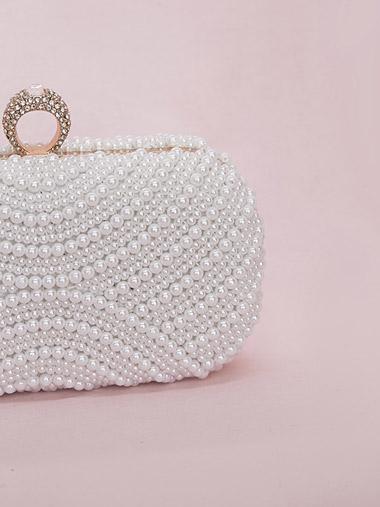 Pearl beaded bridal clutch