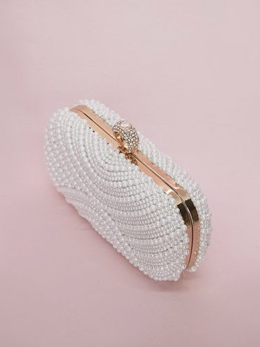 Rose gold evening wedding bags with pearls