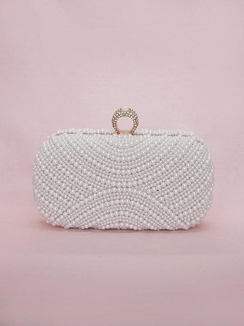 white pearl beaded bag