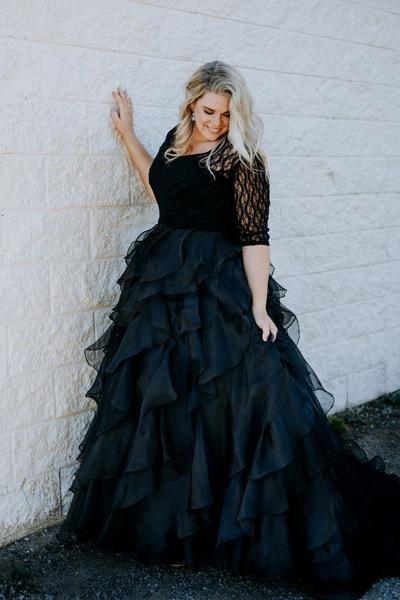 Plus size wedding dress in black colour