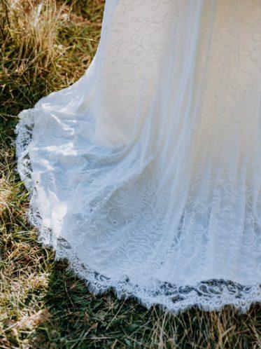 Lace trim on train of dress