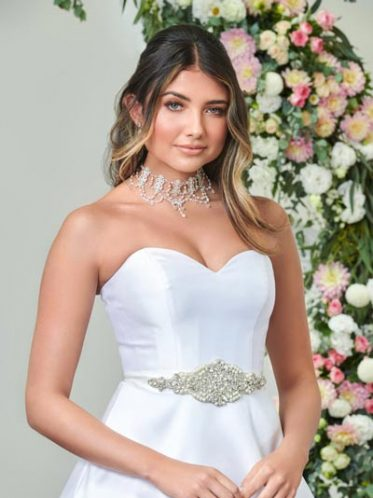 Accessories for this white satin dress