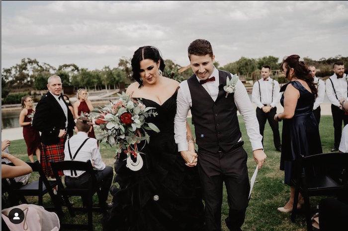Black wedding dress at a scottish wedding