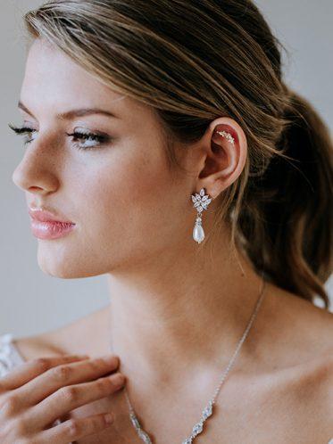 Bridal pearl drop earrings in silver