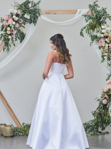 White satin gown with Lace up back Isla