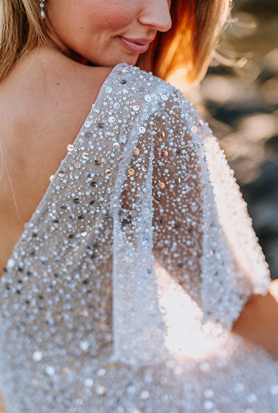 Beaded sleeve for Jolie wedding gown