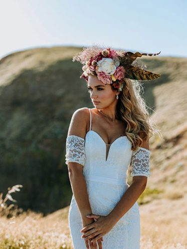 Lace sleeve slimline wedding gowns