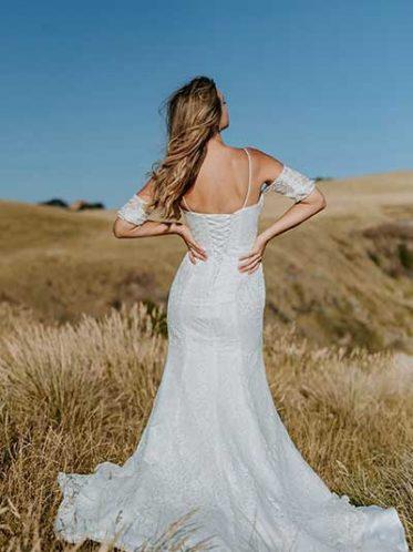 Lace up back Jules wedding dresses