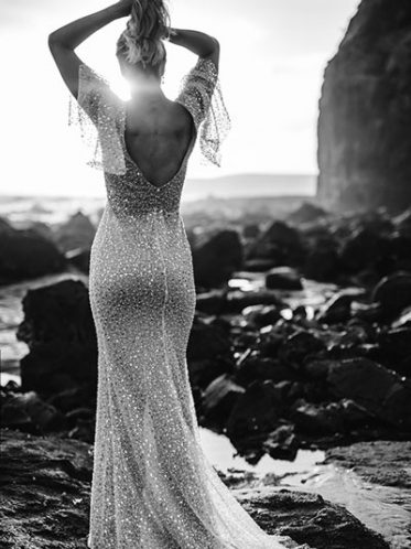 Heavily beaded wedding dress