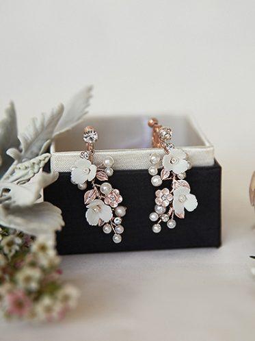 Floral wedding earrings