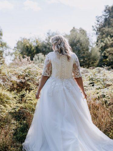 High back sleeve wedding dresses