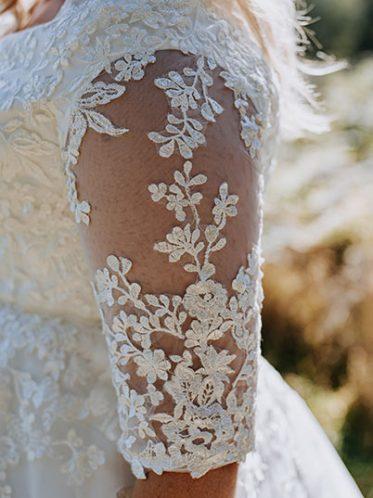 flower lace sleeve wedding dress