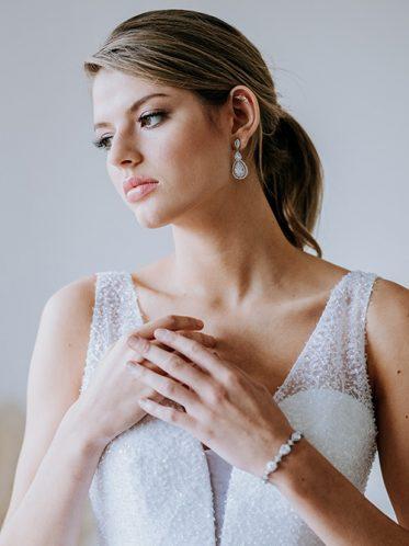 Sequinned bodice of debutante dress