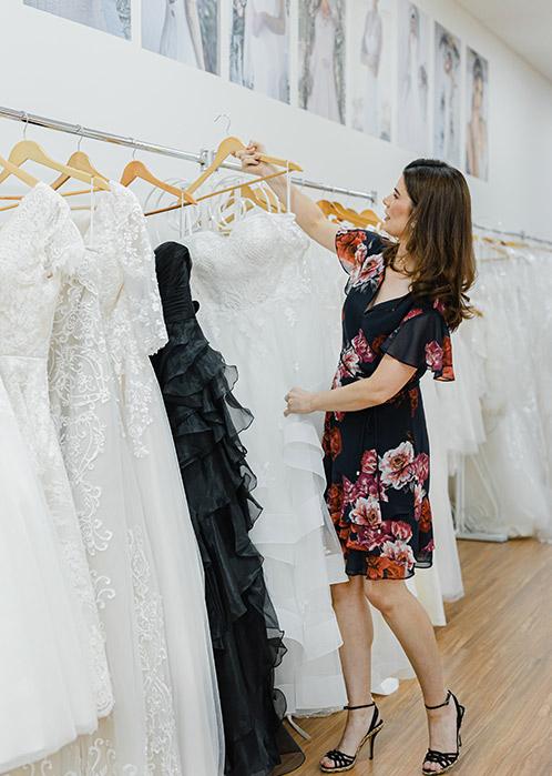choosing a ballgown