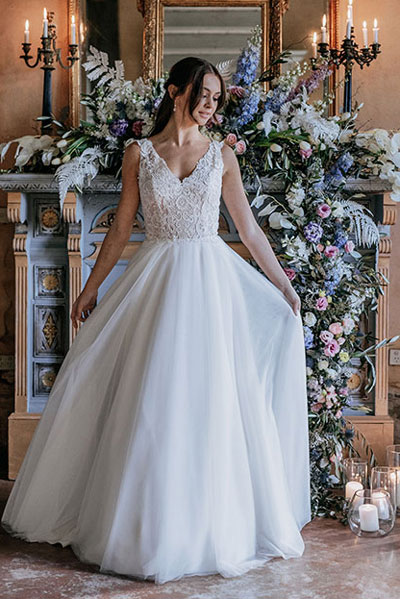 Flowing tulle skirt Margaret wedding gowns