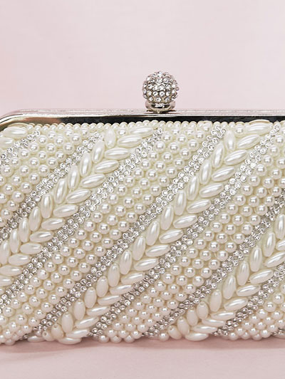 Ivory bridal clutch with pearls